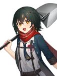 black_hair blue_neckwear eyebrows_visible_through_hair eyes_visible_through_hair fang fingernails hair_between_eyes heart highres holding holding_shovel looking_at_viewer mashiro_(nijisanji) nijisanji open_mouth orange_eyes over_shoulder red_nails red_scarf scarf short_hair shovel simple_background sleeves_rolled_up tongue virtual_youtuber white_background wowk