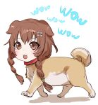 1girl :3 animal_ears animalization blush bow_(bhp) braid brown_eyes brown_hair catchphrase dog dog_ears hair_ornament hairclip hololive human_head inugami_korone long_hair looking_at_viewer smile solo twin_braids walking white_background