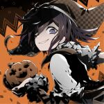 1boy alternate_costume black_hair checkered checkered_headwear commentary_request danganronpa dated frills from_side grin halloween halloween_costume hat holding jack-o'-lantern jester jester_cap long_sleeves looking_at_viewer male_focus medium_hair new_danganronpa_v3 one_eye_closed orange_background ouma_kokichi pumpkin short_over_long_sleeves short_sleeves signature smile solo u_u_ki_u_u upper_body witch_hat