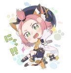 +_+ 1girl :d animal_ear_fluff animal_ears bangs_pinned_back beret black_footwear black_headwear black_shorts blush boots cat_ears cat_girl cat_tail chibi commentary_request detached_sleeves diona_(genshin_impact) fang full_body genshin_impact gloves green_eyes hat highres long_sleeves open_mouth pink_hair puffy_long_sleeves puffy_shorts puffy_sleeves shirt shoe_soles short_shorts shorts simple_background sleeves_past_wrists smile solo sparkle tail thick_eyebrows totatokeke translation_request v-shaped_eyebrows white_background white_gloves white_shirt white_sleeves