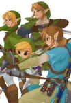 4boys bangs beige_pants beige_shirt black_eyes blonde_hair blue_shirt bow_(weapon) brown_gloves earrings fingerless_gloves from_side gloves green_headwear green_shirt hat highres holding holding_bow_(weapon) holding_sword holding_weapon hylian_shield iva_(sena0119) jewelry link male_focus multiple_boys multiple_persona pointy_ears sheikah_slate shield shirt short_ponytail short_sleeves smile sword the_legend_of_zelda the_legend_of_zelda:_breath_of_the_wild the_legend_of_zelda:_the_wind_waker the_legend_of_zelda:_twilight_princess toon_link triforce_print weapon