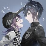 2boys ahoge bangs baseball_cap black_hair black_headwear black_jacket checkered checkered_background checkered_neckwear checkered_scarf commentary_request danganronpa hat jacket looking_at_another male_focus medium_hair multiple_boys new_danganronpa_v3 ouma_kokichi purple_background purple_hair saihara_shuuichi scarf short_hair straitjacket striped_jacket sweatdrop u_u_ki_u_u upper_body upper_teeth violet_eyes white_jacket