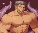 1boy abs bara biceps chest completely_nude dagon_(tokyo_houkago_summoners) facial_hair grey_hair looking_at_viewer male_focus muscle nipples nude octopus_boy sharp_teeth short_hair sideburns solo stubble teeth tentacles terraxle tokyo_houkago_summoners tongue tongue_out undercut upper_body