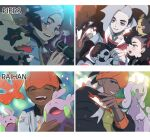1girl 2boys black_hair black_hoodie blue_eyes blush character_name choker closed_eyes collared_shirt commentary_request cropped_jacket dark_skin dark_skinned_male earrings eyeshadow fingernails galarian_form galarian_zigzagoon gen_4_pokemon gen_6_pokemon gen_8_pokemon gloves goodra goomy green_eyes grey_choker grey_hair gym_leader hair_ribbon hood hoodie jewelry korean_commentary long_hair makeup marnie_(pokemon) microphone mikripkm morpeko morpeko_(full) multicolored_hair multiple_boys obstagoon on_head one_eye_closed open_mouth orange_headwear piers_(pokemon) pokemon pokemon_(creature) pokemon_(game) pokemon_on_head pokemon_swsh raihan_(pokemon) ribbon rotom rotom_phone shirt single_glove smile sparkle teeth tongue toxel two-tone_hair younger