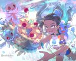 1girl armlet artist_name belly_chain bike_shorts black_hair blue_eyes blue_eyeshadow blue_hair blue_nails blush brionne commentary_request dark_skin dark_skinned_female earrings eyelashes eyeshadow frillish frillish_(female) frillish_(male) gen_3_pokemon gen_5_pokemon gen_7_pokemon gym_leader hair_bun hoop_earrings jewelry korean_commentary long_hair luvdisc makeup mikripkm multicolored_hair nail_polish necklace nessa_(pokemon) open_mouth pokemon pokemon_(creature) pokemon_(game) pokemon_swsh smile sparkle teeth tongue two-tone_hair water_drop watermark