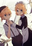 1boy 1girl :/ apron arch bird black_dress blonde_hair blue_eyes brown_pants cabbie_hat dove dress dutch_angle eyebrows_visible_through_hair flat_chest frills hair_ornament hairclip hat interlocked_fingers juliet_sleeves kagamine_len kagamine_rin light_frown long_sleeves looking_at_viewer maid mob_cap newspaper pants papers parted_lips pillar puffy_sleeves serious short_hair short_ponytail suspenders v-shaped_eyebrows vocaloid zazuzu