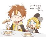 1boy 1girl blonde_hair blue_eyes blush bow butter chibi closed_eyes commentary earrings eating food fork hair_bow hazuki_015 highres holding holding_fork holding_knife hood hoodie jewelry kagamine_rin knife pancake plate project_sekai shinonome_akito translated vocaloid white_background yellow_hoodie