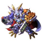arm_blade arm_cannon blue_eyes cape chibi digimon glowing glowing_eye horns mecha no_humans omegamon single_horn taedu weapon white_background