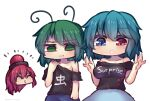 3girls antennae arms_up bangs black_shirt blue_eyes blue_hair blue_skirt breasts closed_eyes closed_mouth english_text eyebrows_visible_through_hair face flat_chest green_eyes green_hair hecatia_lapislazuli heterochromia holding holding_clothes holding_shirt large_breasts long_hair medium_hair multiple_girls open_mouth polos_crown red_eyes redhead shirt simple_background skirt smile tatara_kogasa touhou translation_request unime_seaflower upper_body white_background wriggle_nightbug