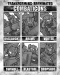 6+boys blast_off brawl character_name decepticon dropshot eyepatch highres mecha monochrome multiple_boys no_humans one_eye_covered onslaught pointing redesign six_fanarts_challenge swindle_(transformers) theamazingspino transformers visor vortex_(transformers) white_eyes