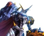 arm_cannon blue_eyes close-up digimon horns looking_up mecha no_humans omegamon single_horn solo taedu upper_body weapon white_background