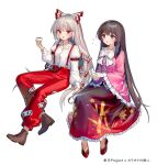 2girls ainy arm_belt bamboo_print bangs black_hair boots bow bowtie brown_eyes brown_footwear choko_(cup) cup drunk eyebrows_visible_through_hair frilled_sleeves frills fujiwara_no_mokou full_body hair_bow holding holding_cup houraisan_kaguya invisible_chair long_hair long_sleeves multiple_girls ofuda open_mouth pants pink_shirt red_eyes red_footwear red_pants red_skirt shirt silver_hair simple_background sitting skirt slippers suspenders tokkuri touhou v-shaped_eyebrows very_long_hair white_background white_bow white_neckwear wide_sleeves
