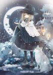 1girl absurdres animal black_legwear blonde_hair blue_eyes commentary cradle crescent_moon cross cross_necklace graveyard hat highres huge_filesize jewelry looking_at_viewer moon necklace original outdoors snowflakes snowing sweater tombstone tukimisou0225 turtleneck turtleneck_sweater witch witch_hat wolf
