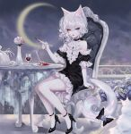 1girl animal_ears arm_support artist_name bangs bare_shoulders black_dress black_footwear blue_eyes cat_ears cat_tail chair commentary crescent_moon cup dress drinking_glass heterochromia high_heels highres looking_at_viewer moon nail_polish original puffy_short_sleeves puffy_sleeves red_nails sheya short_dress short_hair short_sleeves signature silver_hair sitting solo symbol_commentary table tail vase wine_glass yellow_eyes