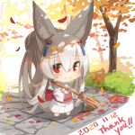 1girl animal_ear_fluff animal_ears autumn_leaves bamboo_broom bangs barefoot blush broom chibi closed_mouth dated day eyebrows_visible_through_hair fox_ears fox_girl fox_tail full_body grey_hair hair_between_eyes hair_ornament holding holding_broom japanese_clothes kimono long_hair long_sleeves obi original outdoors patches ponytail red_eyes sash smile solo standing tail thank_you tree very_long_hair white_background white_kimono wide_sleeves yuuji_(yukimimi)