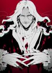 1boy beard blue_eyes facial_hair fate/apocrypha fate_(series) fingers_together fur-trimmed_sleeves fur_trim gradient gradient_background koshiro_itsuki limited_palette long_hair long_sleeves looking_at_viewer male_focus multiple_monochrome simple_background solo stylized_blood sweater upper_body vlad_iii_(fate/apocrypha)