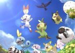 absurdres alcremie blue_eyes brown_eyes closed_mouth clouds commentary_request corviknight day eldegoss fangs flower from_below galarian_form galarian_ponyta galarian_zigzagoon gen_8_pokemon grass grookey happy highres lens_flare morpeko morpeko_(full) no_humans open_mouth outdoors pokemon pokemon_(creature) rii2 scorbunny sky smile sobble tongue wooloo yamper yellow_flower