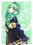 1girl blush closed_mouth fire_emblem fire_emblem:_three_houses fire_emblem_heroes flayn_(fire_emblem) garreg_mach_monastery_uniform green_eyes green_hair hair_ornament hairclip head_tilt long_hair looking_at_viewer looking_back maji_(majibomber) ribbon simple_background smile standing upper_body