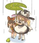 2girls apron back_bow black_footwear black_headwear black_skirt black_vest blonde_hair bow braid brown_hair detached_sleeves frog full_body hair_bow hair_tubes hakurei_reimu hat hat_bow highres holding holding_leaf kirisame_marisa leaf leaf_umbrella leaning_forward long_hair mota multiple_girls ponytail rain red_bow red_shirt shirt shoes short_sleeves single_braid skirt socks solid_oval_eyes touhou vest waist_apron white_bow white_legwear white_shirt wide_sleeves witch_hat