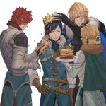 1girl 3boys :d armor belt blonde_hair blue_eyes blue_jacket braid brown_belt brown_gloves cape commentary_request confetti crown dimitri_alexandre_blaiddyd eyepatch felix_hugo_fraldarius fire_emblem fire_emblem:_three_houses french_braid from_behind fur-trimmed_cape fur_trim gloves green_cape green_ribbon grin hair_ribbon hand_on_hip happy_birthday highres holding holding_plate ingrid_brandl_galatea jacket multiple_boys open_mouth owl_taro party_popper pauldrons plate redhead ribbon short_hair shoulder_armor simple_background smile sunny_side_up_egg sylvain_jose_gautier white_background