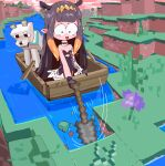 1girl bangs black_hair blue_eyes boat chibi halo holding holding_shovel hololive hololive_english minecraft ninomae_ina'nis open_mouth scared shovel solo_focus surprised virtual_youtuber watercraft wide-eyed wolf_(minecraft) y3v