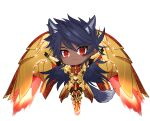 1boy animal_ears bangs breastplate chibi dark_blue_hair dark_skin dark_skinned_male earrings energy fate/grand_order fate_(series) floating full_body glowing_armor golden_wings gradient_hair highres jewelry long_hair male_focus multicolored_hair onasu_(sawagani) purple_hair red_eyes romulus_quirinus_(fate/grand_order) solo t-pose tail very_long_hair wings wolf_boy wolf_ears wolf_tail