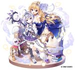 2girls :3 :d ahoge bangs bare_shoulders between_breasts black_legwear blonde_hair blue_bow blue_dress blue_footwear blush book_stack boots bow braid breasts candle candlestand center_frills character_request chest_of_drawers closed_eyes closed_mouth commentary_request crown dress eyebrows_visible_through_hair fire flat_chest frilled_skirt frills fruits_fulcute! ghost hair_between_eyes hair_bow head_between_breasts heart holding holding_staff jacket large_breasts long_hair long_sleeves mauve mini_crown multiple_girls official_art open_clothes open_jacket open_mouth orb outstretched_arm plaid plaid_skirt pleated_skirt potion purple_skirt shirt shoes silver_hair single_sock single_thighhigh skirt skull smile smoke socks staff standing standing_on_one_leg strapless strapless_dress striped striped_legwear thigh-highs thighhighs_under_boots tiara tilted_headwear vertical-striped_legwear vertical_stripes very_long_hair violet_eyes watermark white_background white_bow white_footwear white_jacket white_shirt wide_sleeves