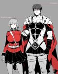1boy 1girl armor between_breasts black_sclera black_skirt breasts caligula_(fate/grand_order) cape fate/grand_order fate_(series) florence_nightingale_(fate/grand_order) height_difference koshiro_itsuki limited_palette long_hair muscle partially_colored red_cape red_eyes roman_clothes short_hair skirt strap_between_breasts