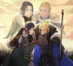 4boys arm_around_shoulder armor blonde_hair blue_cape blue_hair blue_jacket brown_gloves cape closed_eyes commentary_request cowboy_shot dimitri_alexandre_blaiddyd eyepatch father_and_son felix_hugo_fraldarius fire_emblem fire_emblem:_three_houses fur-trimmed_cape fur_trim gloves highres jacket lambert_egitte_blaiddyd looking_at_another male_focus multiple_boys outdoors owl_taro rodrigue_achille_fraldarius short_hair smile standing