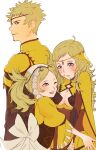 1boy 2girls ahoge breasts bynomeans circlet father_and_daughter fire_emblem fire_emblem_fates fire_emblem_heroes grandmother_and_granddaughter highres hug lissa_(fire_emblem) long_hair looking_at_another medium_breasts mother_and_son multiple_girls odin_(fire_emblem) one_eye_closed ophelia_(fire_emblem)