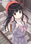 1girl backpack bag bangs beret black_hair blurry blurry_foreground blush brown_eyes closed_mouth commentary_request day depth_of_field eyebrows_visible_through_hair grey_serafuku grey_shirt grey_skirt hair_ornament hands_up hat highres holding_strap long_hair looking_at_viewer mimikaki_(men_bow) neckerchief original outdoors pink_neckwear pleated_skirt red_headwear sailor_collar school_uniform serafuku shirt skirt smile solo stairs stone_stairs twintails two_side_up white_sailor_collar