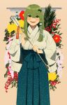 1girl arrow_(projectile) bangs blush eyebrows_visible_through_hair flower frog_hair_ornament hair_between_eyes hair_ornament highres holding holding_arrow kochiya_sanae long_sleeves open_mouth plant red_flower smile snake_hair_ornament solo tebukuro_withana touhou upper_body wide_sleeves