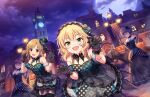 aiba_yumi blonde_hair blush dress green_eyes halloween idolmaster_cinderella_girls_starlight_stage sakurai_momoka short_hair smile