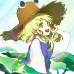 1girl absurdres animal arm_up bangs blonde_hair blue_sky brown_headwear chinese_commentary commentary_request day eyebrows_visible_through_hair floating_hair frog from_side green_eyes hair_ribbon hand_on_headwear hat highres horizontal_pupils id_kun light_rays lily_pad long_sleeves moriya_suwako open_mouth puffy_long_sleeves puffy_sleeves purple_skirt purple_vest pyonta raised_eyebrows red_ribbon ribbon shirt short_hair skirt skirt_set sky solo splashing straw_hat touhou tress_ribbon turtleneck upper_body upper_teeth vest water water_drop white_shirt wide_sleeves