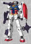 absurdres chinese_commentary clenched_hand eglt green_eyes gun gundam highres holding holding_gun holding_weapon looking_ahead mecha mobile_suit_gundam no_humans redesign rx-78-2 shoulder_cannon solo standing visor weapon zoom_layer