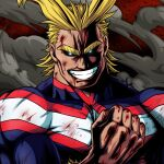 1boy all_might antenna_hair black_sclera blonde_hair blood blood_on_face blood_stain bloody_hands bodysuit boku_no_hero_academia clenched_hand commentary glowing glowing_eyes hand_up highres looking_at_viewer male_focus messy_hair muscle short_hair smile solo studio_viga thick_eyebrows torn_bodysuit torn_clothes upper_body