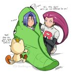 1boy 1girl blue_eyes blue_hair blush comforting cruz02art depressed gen_1_pokemon green_eyes highres james_(pokemon) jessie_(pokemon) meowth metapod pokemon pokemon_(anime) pokemon_(creature) redhead team_rocket