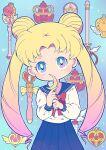 1girl bishoujo_senshi_sailor_moon blonde_hair blue_eyes chibi double_bun gradient_hair highres looking_at_viewer miyata_(lhr) multicolored_hair pink_hair school_uniform serafuku tsukino_usagi twintails