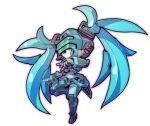 chibi fei-yen floating fusion hatsune_miku mecha no_humans open_hands solo taedu twintails virtual_on visor vocaloid white_background