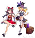 2girls ainy black_hair black_skirt black_vest blonde_hair blouse bottle bow braid broom collared_blouse crossed_legs cup detached_sleeves eyebrows_visible_through_hair full_body glass hair_tubes hakurei_reimu hat hat_bow holding holding_bottle holding_cup invisible_chair kirisame_marisa leg_up long_hair mary_janes midriff multiple_girls neck_ribbon open_mouth parted_lips petticoat puffy_short_sleeves puffy_sleeves purple_bow red_bow red_eyes red_shirt red_skirt ribbon ribbon-trimmed_sleeves ribbon_trim sake_bottle shirt shoes short_sleeves side_braid simple_background single_braid sitting skirt skirt_set socks touhou vest white_background white_blouse white_legwear witch_hat yellow_eyes yellow_neckwear
