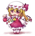 1girl apple ascot blonde_hair bow collared_shirt crystal dress eyebrows_visible_through_hair fang flandre_scarlet food frilled_skirt frills fruit full_body hair_between_eyes hat hat_ribbon highres holding holding_food holding_fruit long_sleeves looking_at_viewer medium_hair mob_cap open_mouth red_apple red_bow red_dress red_eyes red_footwear red_ribbon red_shirt red_skirt ribbon ribbon-trimmed_headwear ribbon_trim shirt side_ponytail simple_background skirt smile solo standing touhou unime_seaflower white_background white_headwear white_legwear white_sleeves wings yellow_neckwear