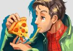 1boy brown_eyes brown_hair cheese cheese_trail eating food green_jacket hasegawa_(morebeer) highres holding holding_food holding_pizza jacket pepperoni peter_parker pizza pizza_slice shadow short_hair solo spider-man:_into_the_spider-verse spider-man_(series) upper_body
