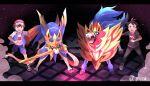 2boys :d artist_name ash_ketchum bangs baseball_cap black_hair black_pants blue_eyes gen_8_pokemon goh_(pokemon) hat highres legendary_pokemon legs_apart looking_up male_focus mei_(maysroom) multiple_boys open_mouth pants pokemon pokemon_(anime) pokemon_(creature) pokemon_swsh_(anime) shirt shoes short_hair short_sleeves shorts side_slit sleeveless sleeveless_jacket smile standing teeth tongue watermark white_shirt zacian zacian_(crowned) zamazenta zamazenta_(crowned)