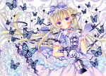 1girl bangs blue_butterfly blush bow center_frills choker collared_dress double_bun dress eyebrows_visible_through_hair frilled_gloves frilled_shirt_collar frills gloves hair_bow hair_ribbon lamp layered_dress long_hair marker_(medium) original puffy_short_sleeves puffy_sleeves purple_dress puu_(kari---ume) ribbon ribbon_choker short_sleeves solo traditional_media very_long_hair violet_eyes waist_bow white_gloves