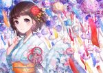 1girl brown_hair hair_ornament japanese_clothes kimono looking_at_viewer mika_pikazo original sash short_hair smile solo violet_eyes wind_chime