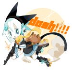 1girl aida_(aidia) animal_ears aqua_eyes aqua_hair bag black_footwear black_legwear black_shirt blue_neckwear blue_skirt bright_pupils brown_bag cat_ears cat_tail dust_cloud english_commentary english_text full_body gun hair_ornament hairclip headphones highres holding holding_gun holding_weapon looking_at_viewer necktie open_mouth original roller_skates scarf shirt short_hair short_necktie short_sleeves shoulder_bag skates skirt socks solo tail weapon weapon_request white_background white_pupils wristband yellow_scarf