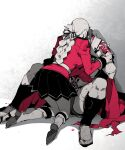 1boy 1girl armor black_skirt blood bloody_hands boots breasts caligula_(fate/grand_order) cape covered_face fate/grand_order fate_(series) florence_nightingale_(fate/grand_order) full_body koshiro_itsuki limited_palette long_hair muscle partially_colored red_cape roman_clothes sandals short_hair skirt spread_legs