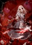 1girl absurdres alice:_madness_returns alice_(wonderland) american_mcgee's_alice apron black_hair blood boots breasts card chiizu_namasu dress highres jupiter_symbol knife long_hair looking_at_viewer pantyhose solo striped striped_legwear