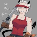 25_kimera alternate_costume black_horns blind breasts brown_gloves collarbone commentary_request dated demon_girl demon_horns demon_tail fang gloves grey_eyes grin helltaker highres holding holding_sword holding_weapon horns justice_(helltaker) large_breasts muscle red_blindfold red_shirt scar shirt short_hair signature sketch smile sword tail upper_body weapon white_hair