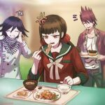 1girl 2boys ^_^ anger_vein annoyed bangs beard black_pants black_sailor_collar blunt_bangs bowl brown_hair checkered checkered_neckwear checkered_scarf chopsticks closed_eyes collarbone commentary_request danganronpa eating facial_hair food goatee grin hair_between_eyes hair_ornament hair_scrunchie harukawa_maki holding holding_chopsticks jacket ksbt0000 long_hair long_sleeves low_twintails mole mole_under_eye momota_kaito multiple_boys new_danganronpa_v3 ouma_kokichi pants pink_jacket plate print_shirt purple_hair red_eyes red_scrunchie red_shirt rice_bowl sailor_collar scarf school_uniform scrunchie shirt short_hair sitting sleeves_past_elbows smile spiky_hair straitjacket twintails upper_teeth white_jacket white_shirt